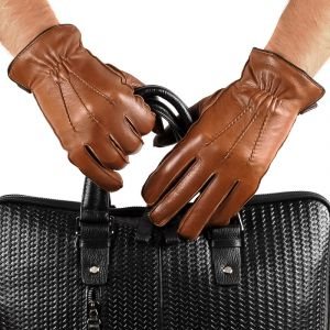 Перчатки мужские 29К_40073_10_П; кожа; коньяк (Размер 9,5)