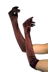 Длинные коричневые перчатки