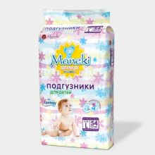 Maneki Подгузники детские одноразовые, серия Fantasy, размер L, 9-14 кг, 54 шт./упаковка