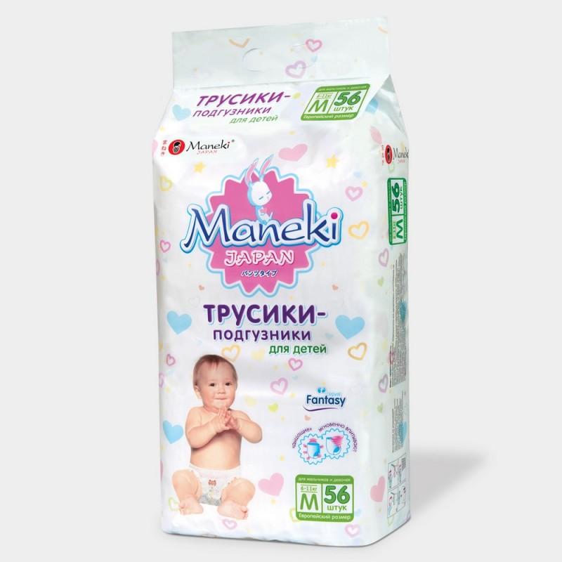 Maneki Трусики-подгузники детские одноразовые, серия Fantasy, размер M,  6-11 кг, 56 шт. упаковка e6c51d0c93d