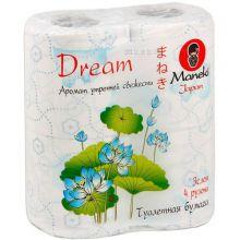 """Maneki туалетная бумага """"Dream"""" 3 слоя, 167 листов, 23 метра, с голубым тиснением и ароматом утренней свежести, 4 рулона"""