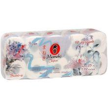 """Maneki туалетная бумага """"Sumi-e"""" 3 слоя, 179 листов, 25 м., с тиснением, тон белая, 10 рулонов"""