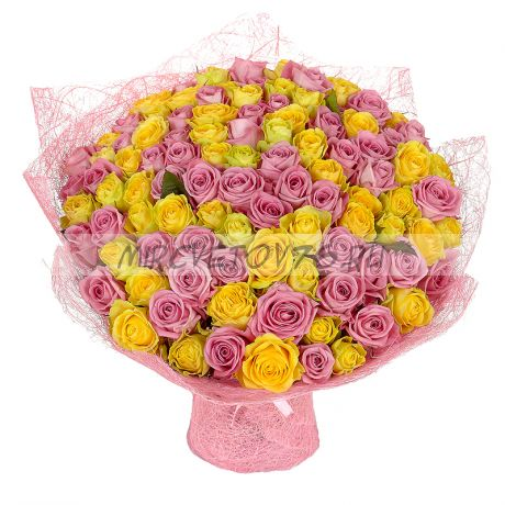 "Букет ""101 желто-розовая роза"""