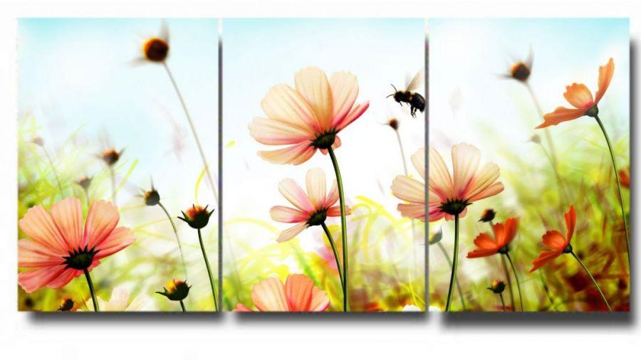 Модульная картина Полевые цветы и пчела