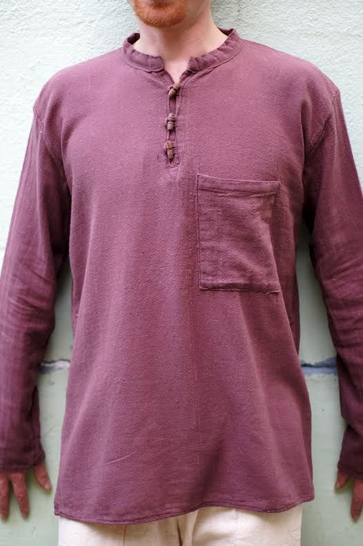 Мужская коричневая рубашка из органического хлопка (отправка из Индии)