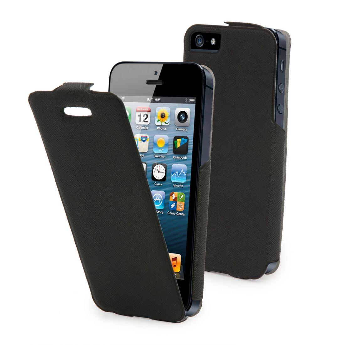 Кожаный чехол Muvit для iphone 5/5s (черный)