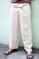 Мужские белые тайские штаны (штаны рыбака) с завернутым поясом