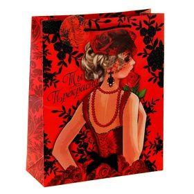 """Пакет подарочный """"Прекрасной женщине"""" (блестки)"""