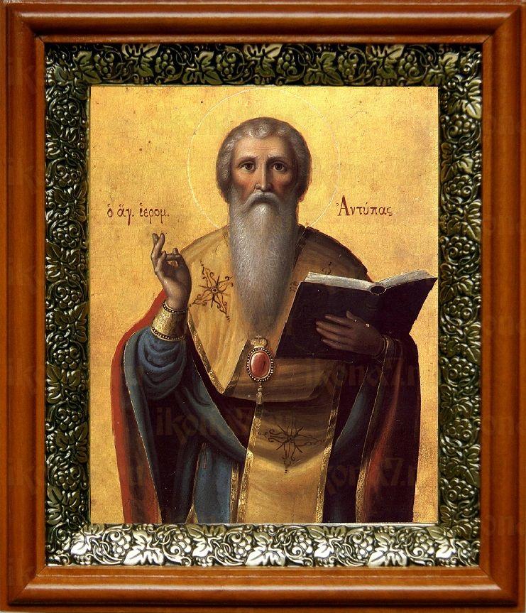Антипа Пергамский (19х22), светлый киот