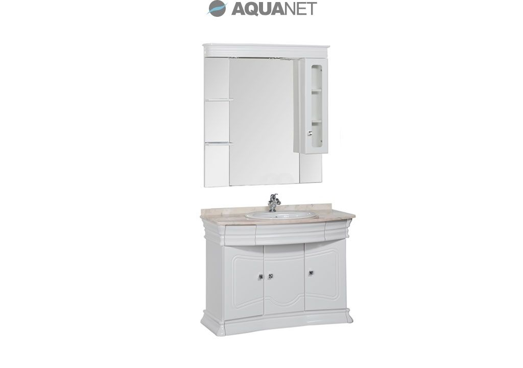 Комплект мебели Aquanet  Греция 110 NEW (swarovski) мрамор бежевый зеркальный шкаф+полки (172505)