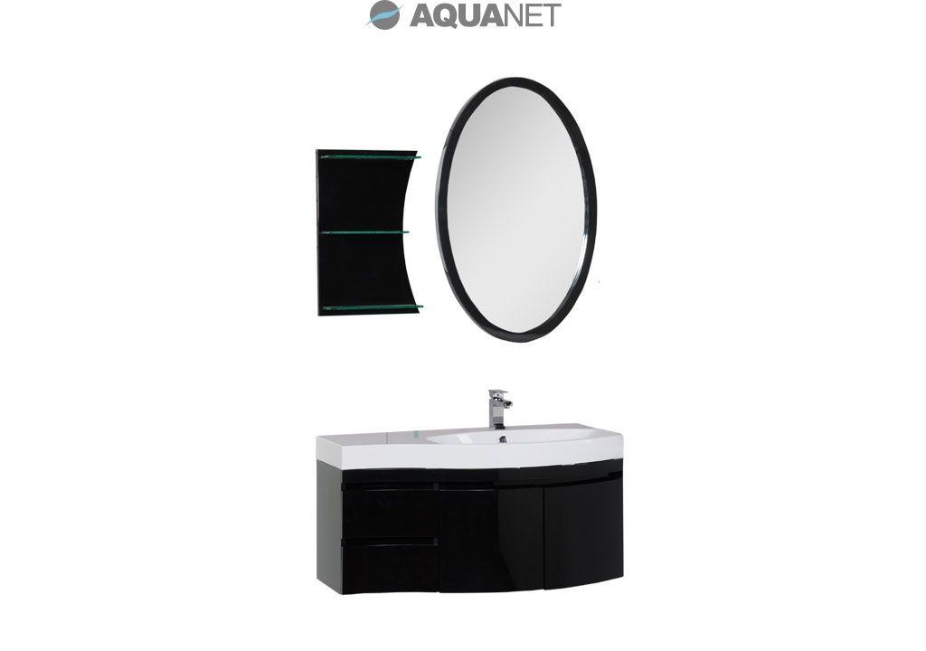 Комплект мебели Aquanet  Опера 115 правая распашные двери, зеркало овальное+полка, цвет черный  (169419)