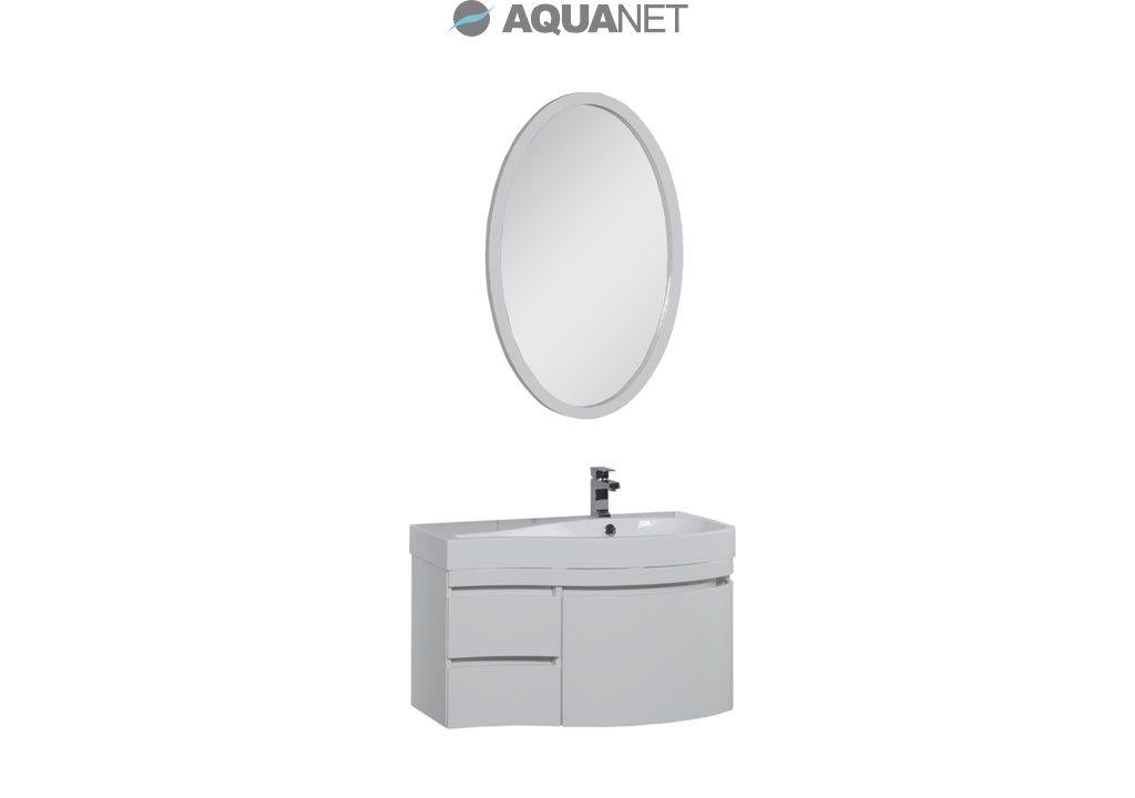 Комплект мебели Aquanet  Сопрано 95 правая с выдвижными ящиками, зеркало овальное, цвет белый (169444)