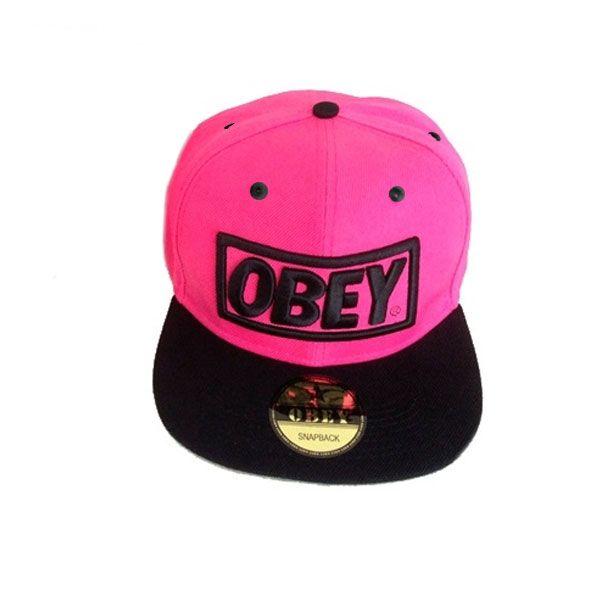 Кепка Obey (розовая с черным козырьком)