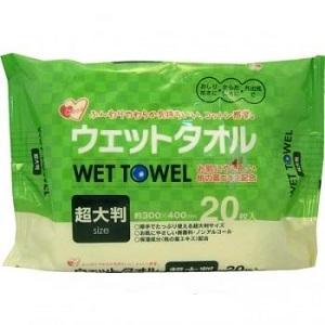 Большие влажные салфетки для рук и тела с экстрактом листьев персика Showa Siko 20шт 300мм х 400мм
