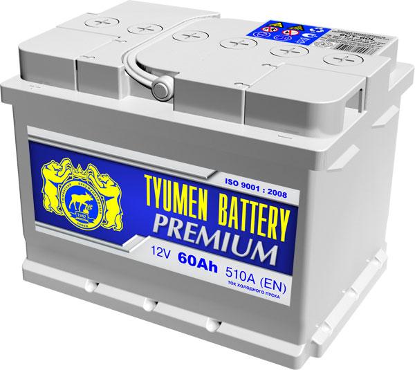 Автомобильный аккумулятор АКБ Тюмень Премиум (TYUMEN BATTERY) PREMIUM 6СТ-60LA 60Aч П.П. (низкий)