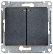 SE Glossa Антрацит Мех Выключатель 2-клавишный с подсветкой сх.5а, 10АХ