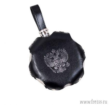 Фляга круглая 0,24 л в чехле из натуральной кожи с гербом