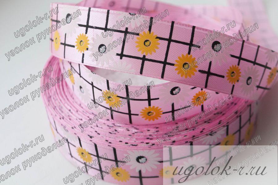 Лента 25 мм атласная клетка с цветами