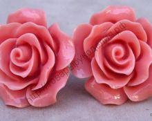 "кабошон ""Роза"" 20мм тёмно-розовая"