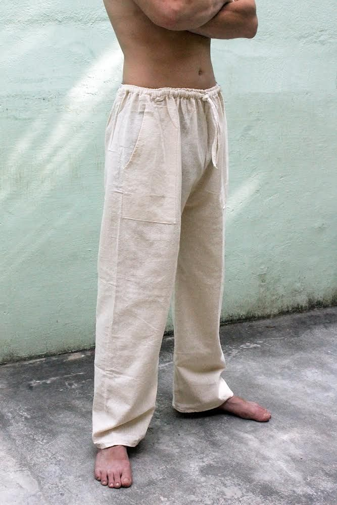 Светлые прямые мужские штаны из органического хлопка (Москва)