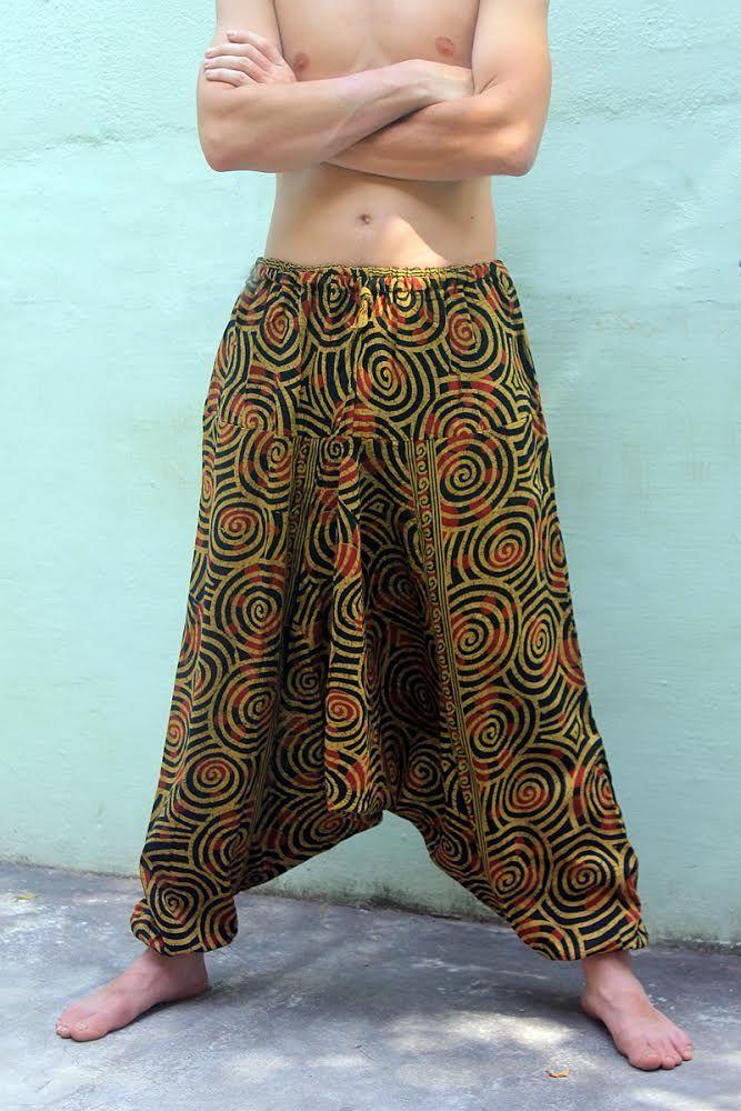 Мужские штаны алладины со спиралями