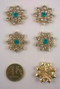 `Кабошон со стразой, диаметр 25 мм, цвет основы золото, Арт. 366071476