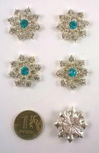 `Кабошон со стразой, диаметр 25 мм, цвет основы серебро, Арт. 366071481