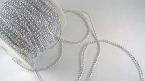`Бусины на леске, диаметр бусин 3 мм, цвет серебро
