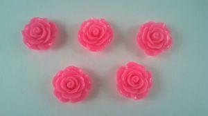 "`Кабошон ""Розочка"", пластик, 19 мм, цвет - ярко-розовый"