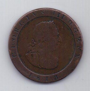 1/2 пенни 1813 г. Остров Мэн (Великобритания)