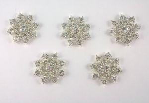 `Кабошон со стразой, диаметр 25 мм, цвет основы серебро, Арт. Р-КБС0036