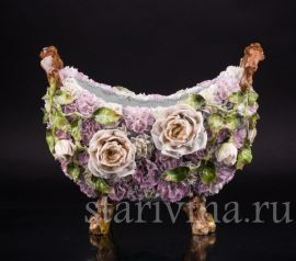 Розы и гвоздики, ваза, Дрезден, Германия, нач. 20 в., артикул 02304