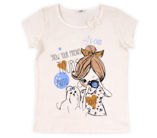 Бежевая футболка для девочки Фотограф