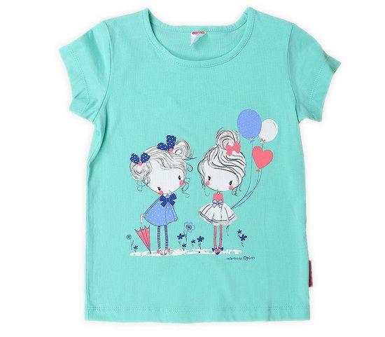 Бирюзовая футболка для девочки Подружки