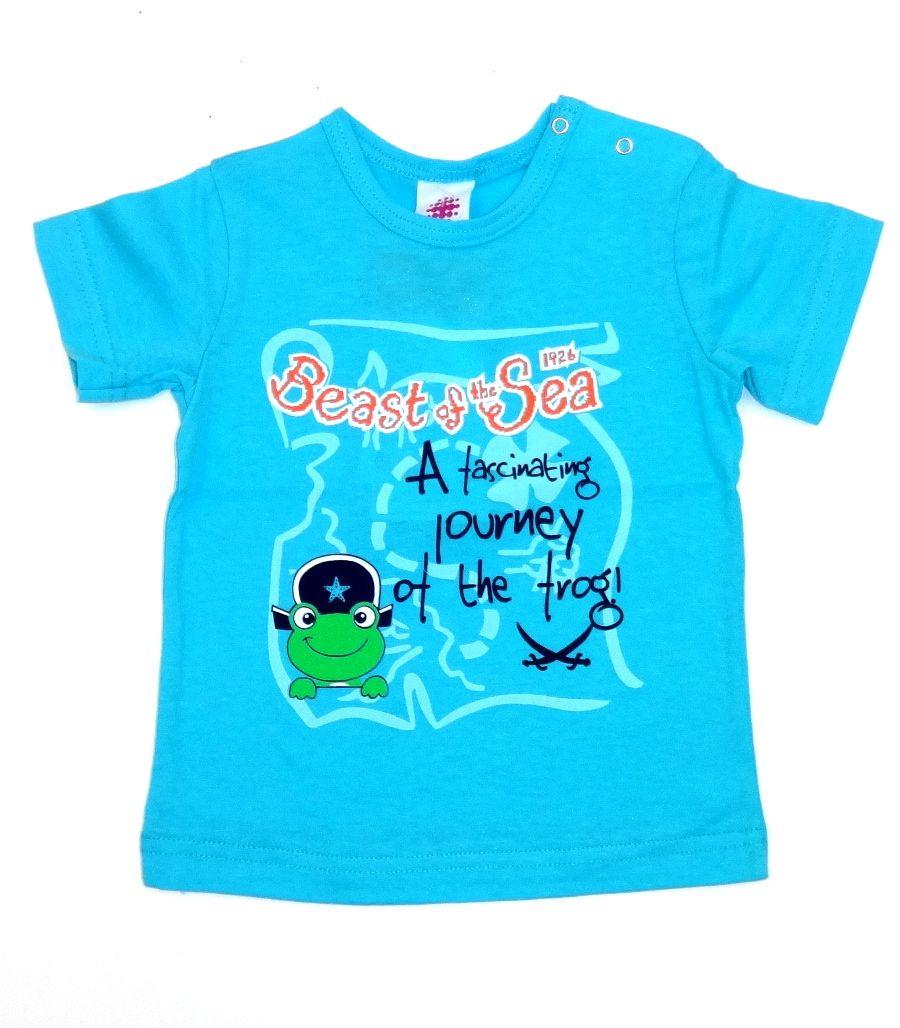 Голубая футболка на кнопках для мальчика Лягушонок