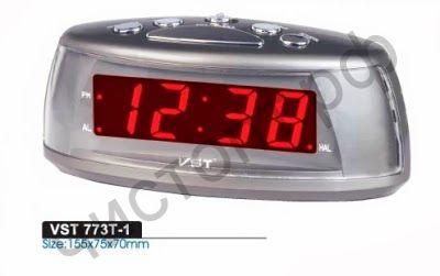 Часы  эл. сетев. VST773-1 крас.цифры (без блока) (5В)