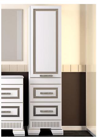 Пенал OPADIRIS ОНИКС  цвет белый с серебряной патиной или белый с золотой патиной. Правый/Левый.