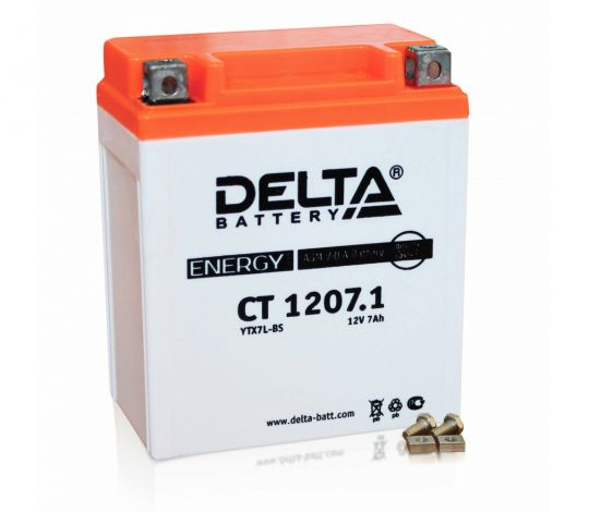 Мото аккумулятор АКБ Delta (Дельта) CT 1207.1 о.п. 7Ач YTX7L-BS