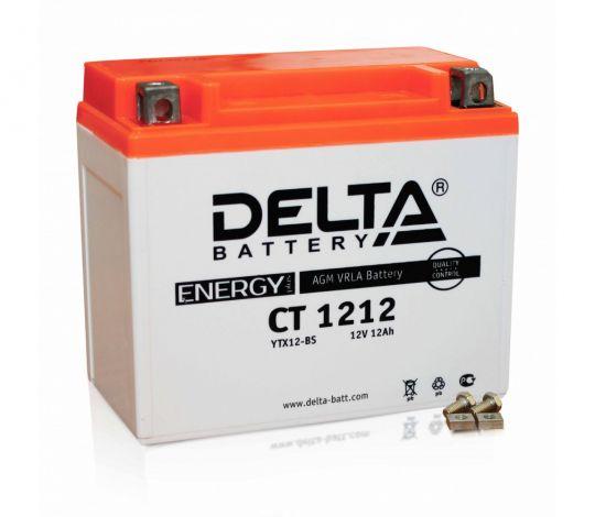 Мото аккумулятор АКБ Delta (Дельта) CT 1212 п.п. 12Ач YTX14-BS, YTX12-BS