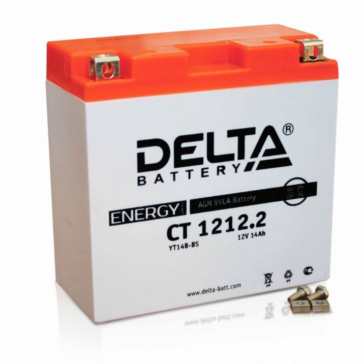Мото аккумулятор АКБ Delta (Дельта) CT 1212.2 14Ач п.п.YT14B-BS