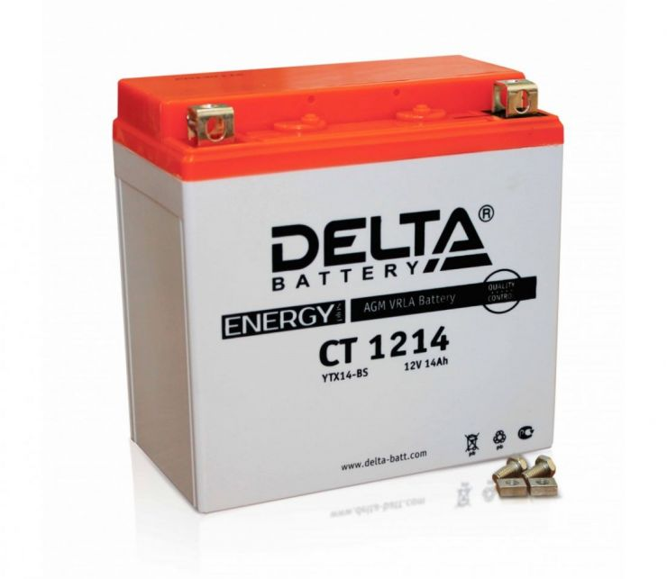 Мото аккумулятор АКБ Delta (Дельта) CT 1214 п.п. 14Ач YTX16-BS, YB16B-A