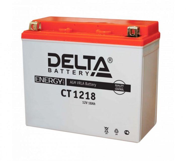 Мото аккумулятор АКБ Delta (Дельта) CT 1218 18Ач п.п. YTX20-BS, YTX20H, YB16-B-CX