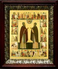 Кирилл и Мария Радонежские (19х22), темный киот
