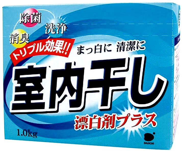 032795 DAIICHI ИНДОР стиральный порошок с отбеливателем, уничтожает неприятный запах, 1кг