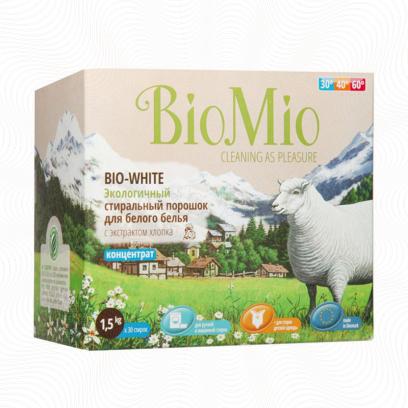 Датский гипоаллергенный стиральный порошок без фосфатов BioMio BIO-WHITE, 1.5кг