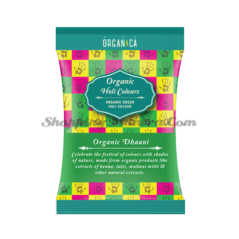 Натуральная краска Холи зеленая Органикa (Organica Dhani Green Herbal Holi Color)