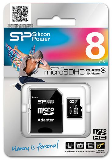 Карта памяти microSD 8 Gb Silicon Power class4 (с адаптером SD)