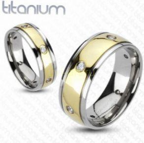 Позолоченное титановое кольцо с искусственными бриллиантами Spikes (арт. 280125)