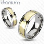 Позолоченное титановое кольцо с искусственными бриллиантами Spikes