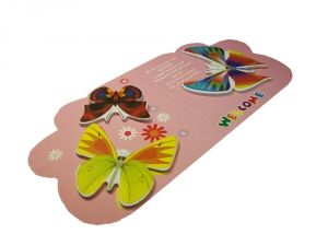 """Стикер """"3 бабочки"""" на розовом фоне"""